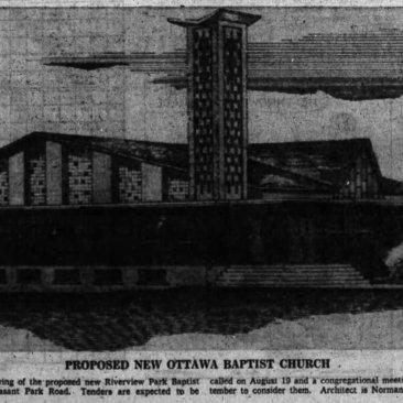 Sherriff's sketch for the Riverview Park Baptist Church. Source: Ottawa Journal, September 13, 1960, p. 34.