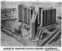 Tarnowski's unbuilt design for Assaly's apartment complex at Lincoln Heights. Source: Ottawa Journal, December 7, 1960, p. 4.