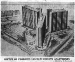 Tarnowski's unbuilt design for Assaly's apartment complex at Lincoln Heights. Source: Ottawa Journal, December 7, 1960, p. 4.