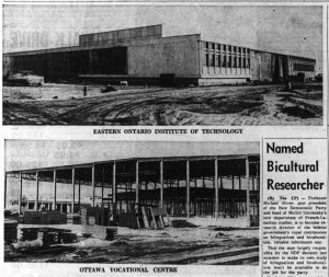 Eastern Ontario Institute of Technology. Source: Ottawa Journal, January 27, 1964, p. 3.