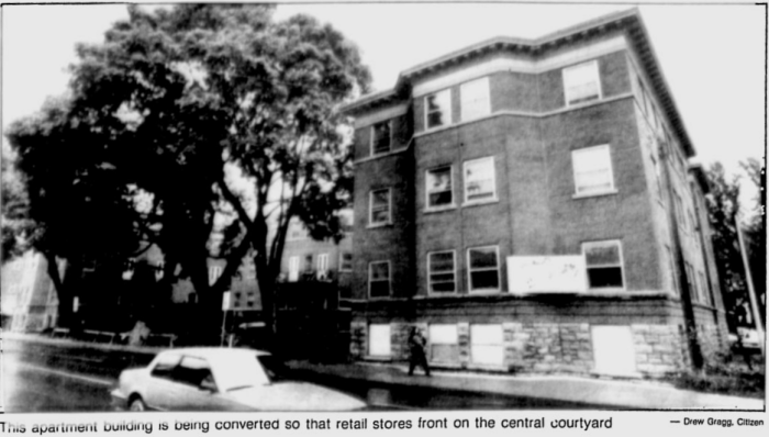Charles Boushey, of Boushey's fame, purchased the money-losing apartment in 1982. Image: Ottawa Citizen, October 1983, p. 23.