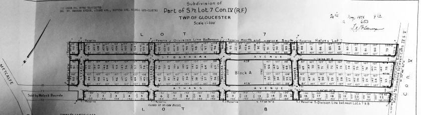 Ottawa Land Registry Office, Plan of Subdivision No. 653, April 1956.