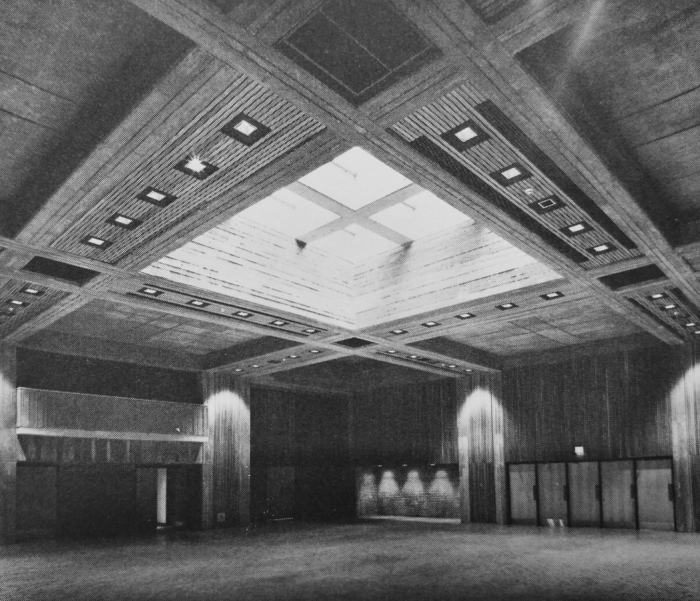 "The University Centre's main hall at opening. Source: Pamphlet, ""University Centre"" Carleton ARC ""University Centre, Pt. 3"" Box PINFO-46."