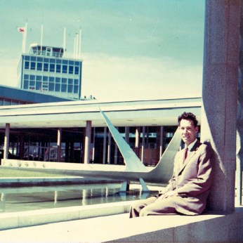 I have not been able to locate a photograph of William Gilleland, so here is Strutt outside of the Uplands Airport.