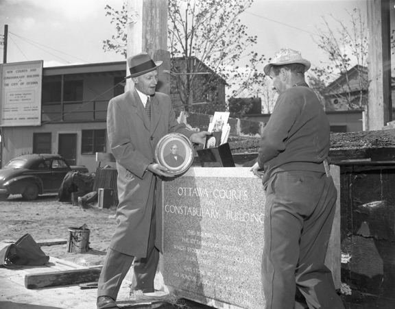 Cornerstone ceremony, May 24, 1956. Image: City of Ottawa Archives CA038615.