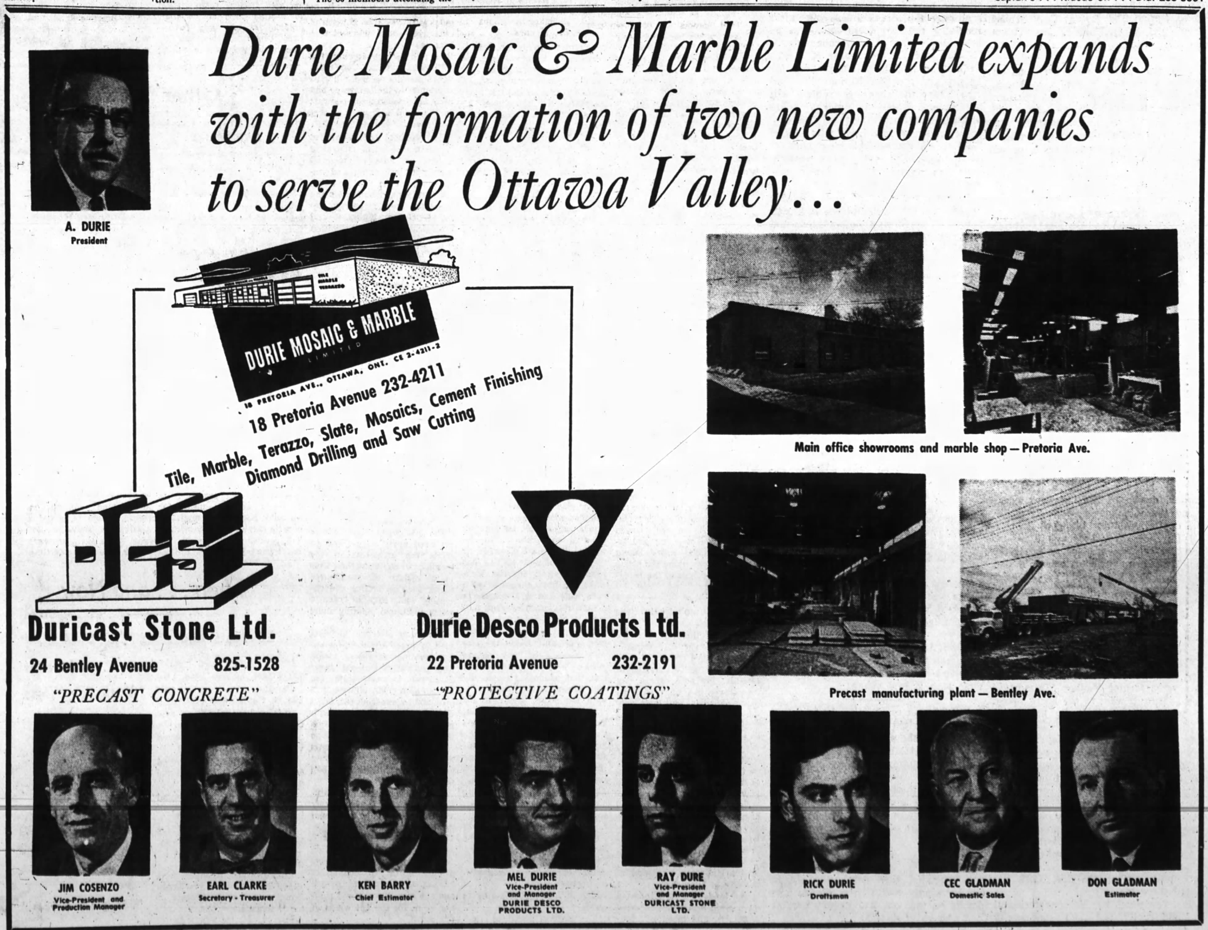 An advertisement for the firm run in the Ottawa Journal on May 6, 1967, p. 5.
