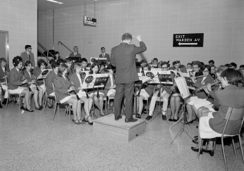 The band strikes up for the opening of the Bloor-Danforth extension in 1968. Image: City of Toronto Archives, Series 648, File 244, Item 1.
