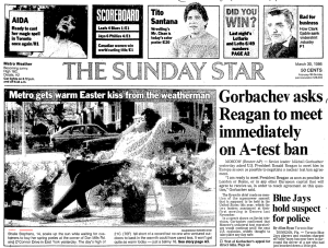 How it appeared above the Sunday Star's fold. Source: Toronto Star, March 30, 1986, A1.