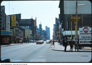 File contains slides depicting the arcade on Yonge Street, pedestrians, vendors and local businesses.
