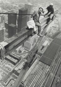 Workmen erecting the steel base for the new Top of Toronto restaurant at the Sky Pod level last year grinned back at photographer Spremo balanced on a steel girder just above them. Said Spremo: Standing there; shooting out into space; felt rather like flying a plane without any wings, 1974. Image: Boris Spremo / Toronto Star / Toronto Public Library, Baldwin Collection, Item TSPA 0109818f.