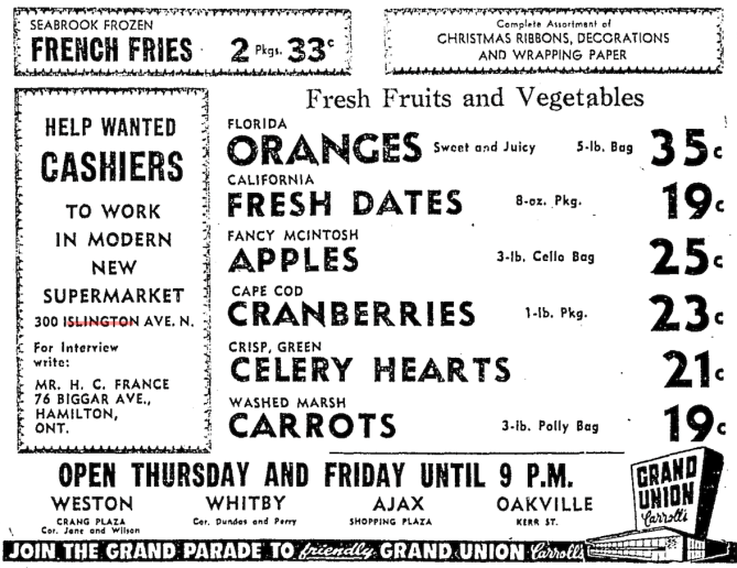 Unlike the Grand(er) Grand Union supermarkets elsewhere in the region, the Thorncrest outlet does not appear to have been opened with the fanfare that a car giveaway can generate. Source: Toronto Star, November 24, 1955, 4.