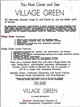 An advertisement for Village Green. Source: Toronto Star, January 15, 1965, 33.