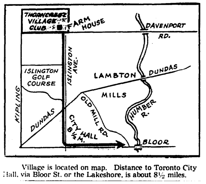 Location of Thorncrest, as advertised when it was announced in 1945. Source: Toronto Star, March 17, 1945, 15.