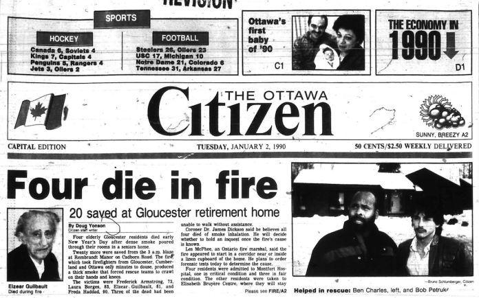 The Citizen's New Year reporting was decidedly grim. Source: Ottawa Citizen, January 2, 1990, A1.