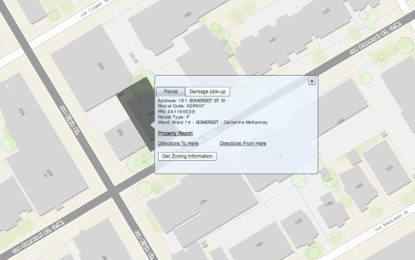Ottawa's mapping application is, at least in my experience, much more detailed than the one used in other cities.