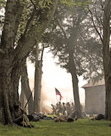 Fighting in the Peach Orchard at Shiloh. Photo by Justin Koehler