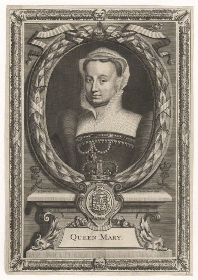 Fictitious portrait called Queen Mary I, by Peter Vanderbank (Vandrebanc), after Edward Lutterell (Luttrell) - NPG D21384 Fictitious portrait called Queen Mary I by Peter Vanderbank (Vandrebanc), after Edward Lutterell (Luttrell) line engraving, published 1706 NPG D21384 © National Portrait Gallery, London
