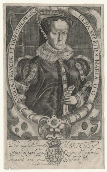 Queen Mary I by Francis Delaram line engraving, published 1638 (after 1618) NPG D17819 © National Portrait Gallery, London