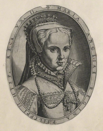 Queen Mary I after Unknown artist line engraving, 1554 or after NPG D17821 © National Portrait Gallery, London