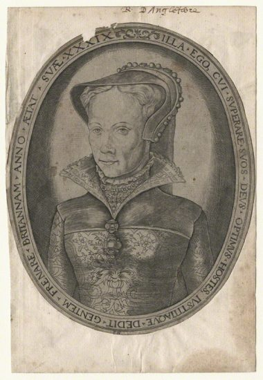 Queen Mary I by Franz Huys, after Unknown artist line engraving, circa 1555 NPG D17822 © National Portrait Gallery, London