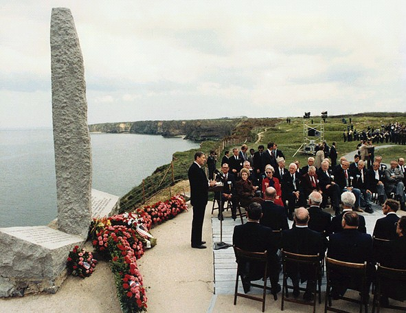 Ronald Reagan giving speech at Point Du Hoc
