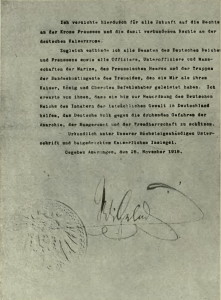 Abdication Statement of Wilhelm II