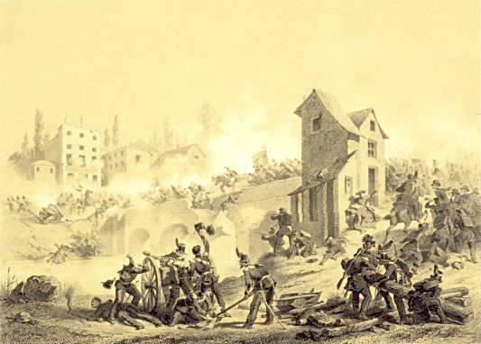 The Battle of the Goito Bridge (April 8th, 1848). Lithography by Stanislas Grimaldi de Puget