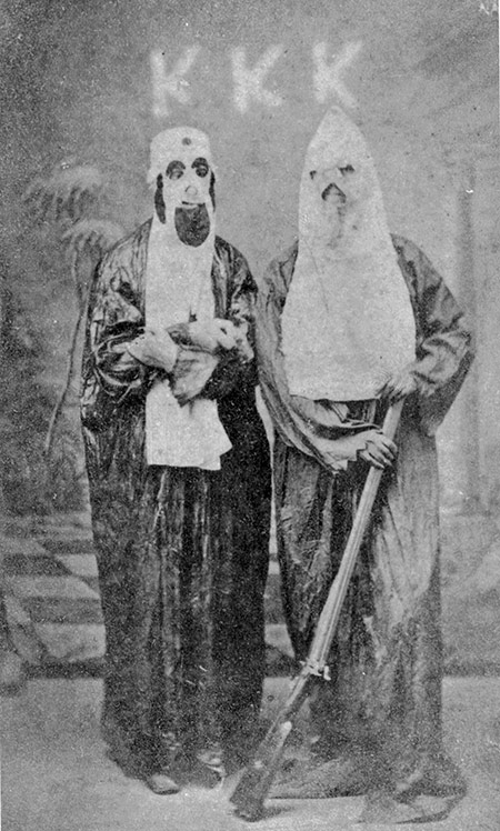 In the hood: two members of the Ku Klux Klan, c.1870
