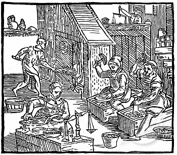 Minting the new coinage of 1560-1 (from Holished's 'Chronicles')