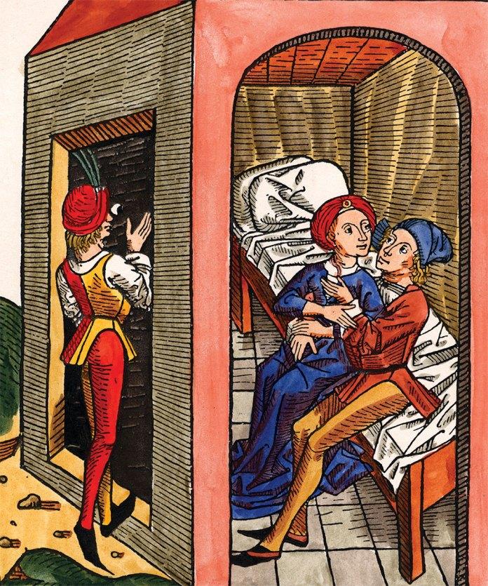 In the brothel ('Frauenhaus'), German woodcut, c.1450.