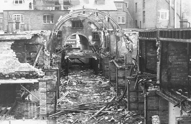 Central Arcade after its destruction by fire, 1974.