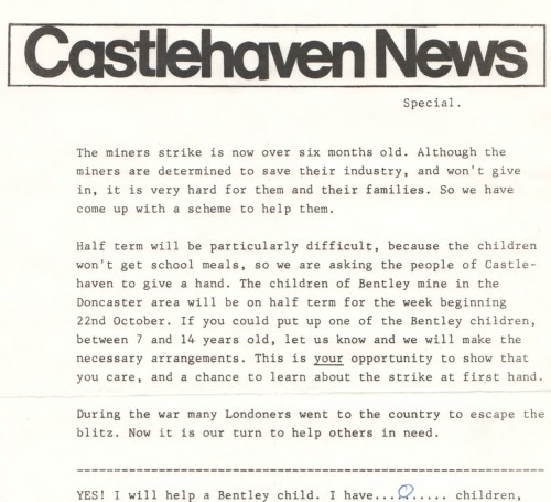 copy of labour party newsletter from 1984 requesting help for mining families