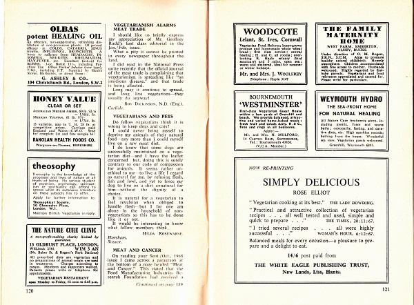 image of the british vegetarian magazine adverts page