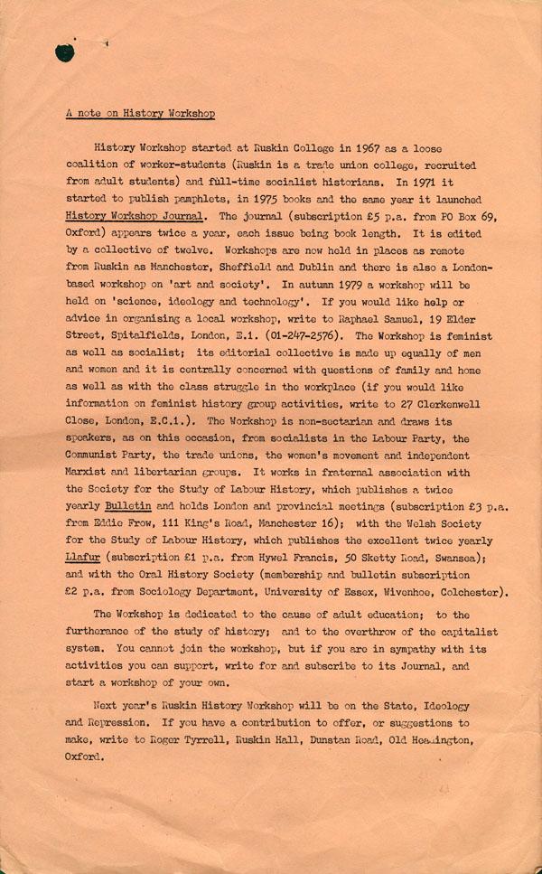 leaflet produced for history workshop 12