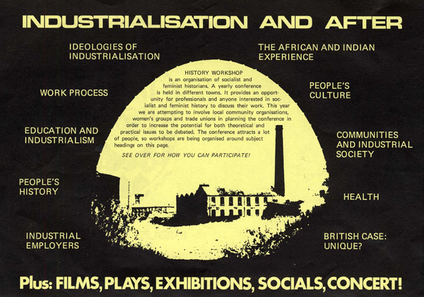image of a publicity leaflet for history workshop 17