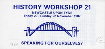 image of the publicity leaflet for history workshop 21