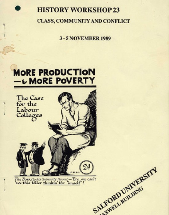 image of the cover of the booklet sent to attendees of history workshop 23