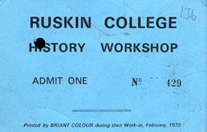 image of a ticket for history workshop 7