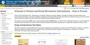 Screenshot of the Women and Social Movements, International website