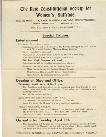 The opening of the NCS office in Knightsbridge, April 1910