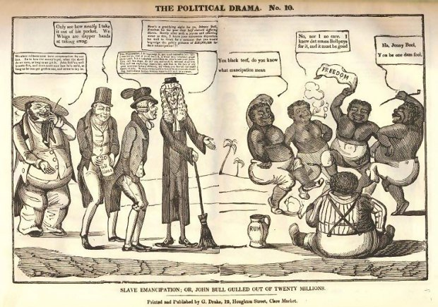 Slave Emancipation; Or, John Bull Gulled Out Of Twenty Millions. Woodcut printed and published by G. Drake. Courtesy of UCL Art Collection, EPC8032.