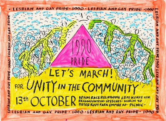 A flyer advertising the 1990 pride march and its theme of 'Unity in the Community!'