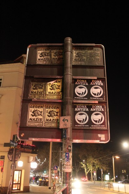 Anti-fascist stickers in Dresden, December 2014: https://www.flickr.com/photos/strassenstriche/15793223569/