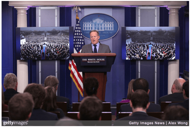 White House Press Secretary Sean Spicer makes a statement to members of the media at the James Brady Press Briefing Room of the White House January 21, 2017 in Washington, DC.