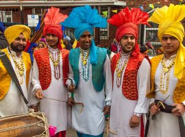Sikh dhol drummers in the Valsakhi festival parade, Southampton, 2013 [https://www.flickr.com/photos/anguskirk/8670011440/in/photostream/]