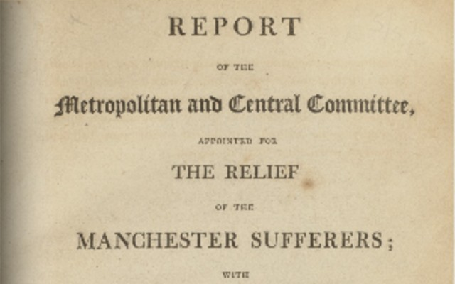 Radical Object: Report on the Relief of the Manchester Sufferers