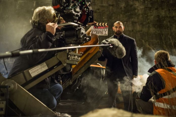 Dave Bautista (Hinx) with crew in Rome on the set of Metro-Goldwyn-Mayer Pictures/Columbia Pictures/EON Productions' action adventure SPECTRE.