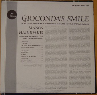 Manos Hadjidakis - Gioconda's Smile - USA 1965 - back cover - Hit Channel