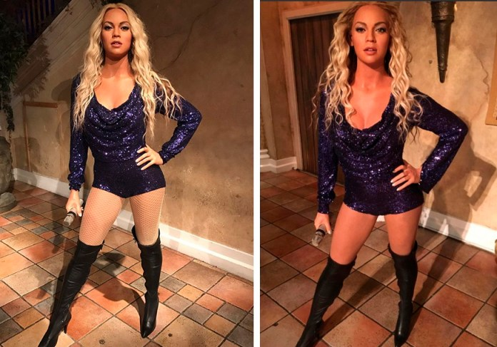 Beyonce - Madame Tussauds - statue (before - after) - Hit Channel
