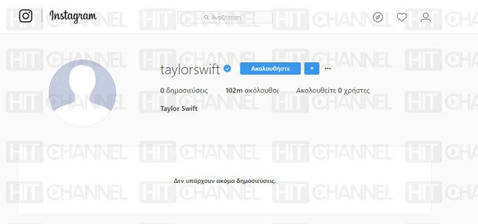 Taylor Swift - blank Instagram - Hit Channel